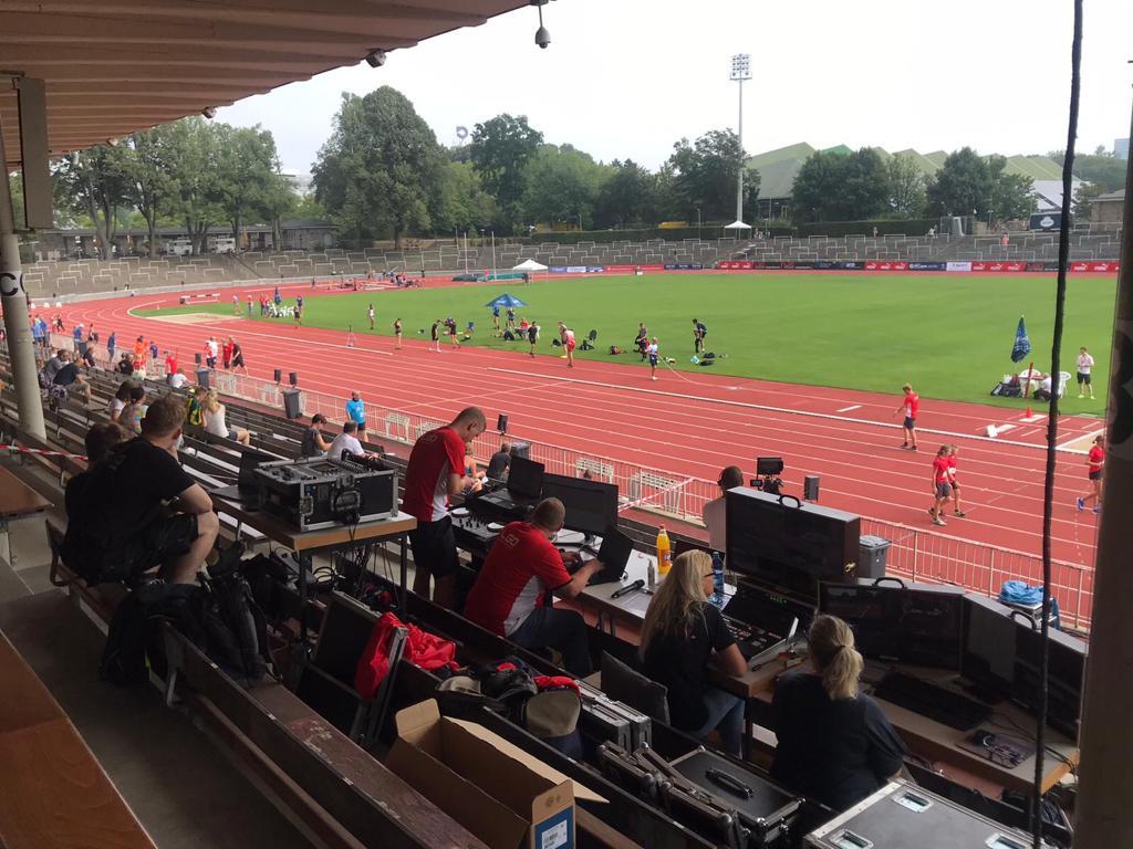 Technik statt Zuschauer nimmt während Corona auf den Tribünen der Leichtathletik-Stadien Platz. So auch beim PUMA Jump'N'Run Meeting in Dortmund.